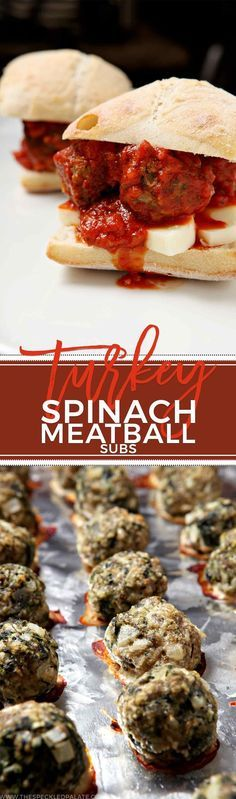 Satisfy a craving with this healthier Turkey Spinach Meatball Sub. Flavorful and swimming in marinara sauce, it's hard not to love this simple, tasty sub.