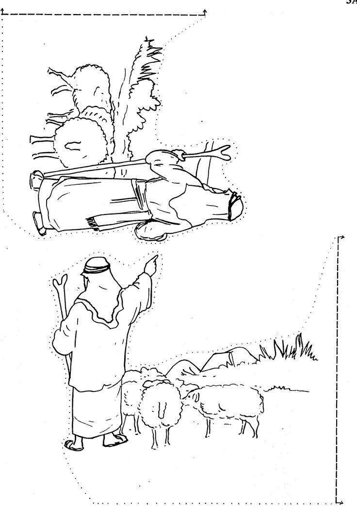 Abraham en Lot gaan uit elkaar knutselwerkje deel 2 aan de zijkanten van deel 1 vastmaken. Abraham and Lot go their separate ways Bible craft part 2 glue to the sides of part 1