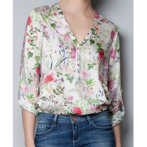 Casual V-Neck Long Sleeve Floral Printing Single-Breasted Chiffon Blouse For Women