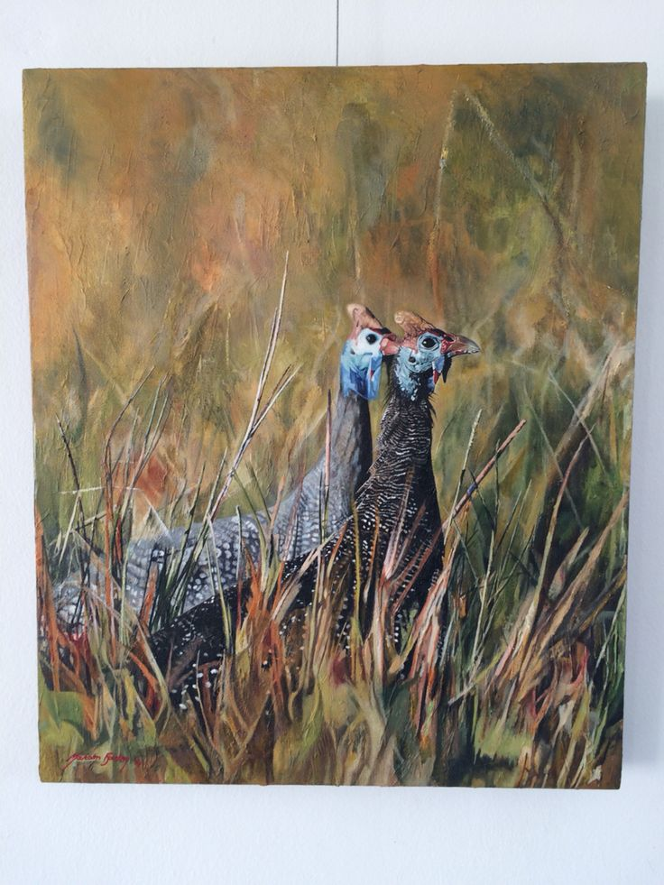Guinea-fowl painting in oils