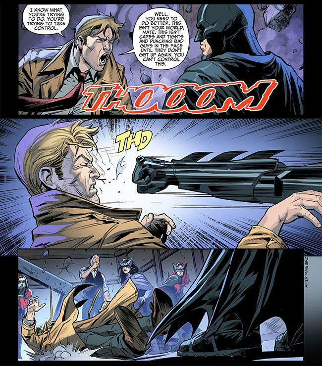 Batman finds his mojo in Injustice Gods Among Us:  Ever since Superman broke Batman's back, the superhero has been hiding out in the Batcave but he makes a comeback in Injustice: Gods Among Us: Year Three #4.   Constantine tells the mere mortal that he's out of his league and can't punch his way out this problem so Batman punches him in the face.   #comics #Constantine http://l7world.com/2014/10/batman-finds-mojo-injustice-gods-among-us.html