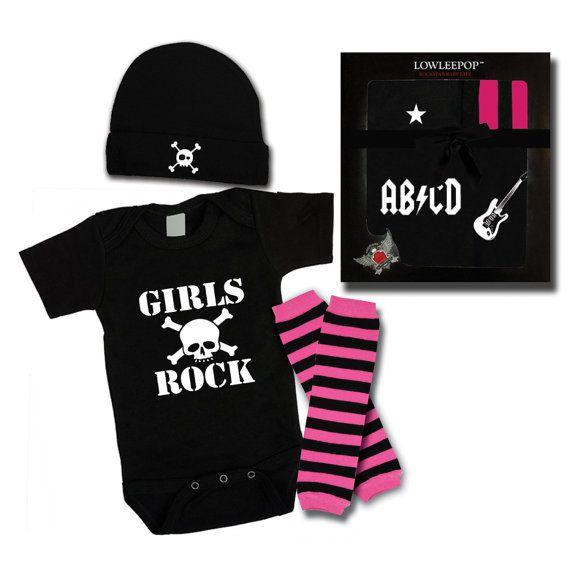 Girls Rock Punk Rock Baby Boy Rockstar Kit black romper one piece layette leg warmers hat Skulls