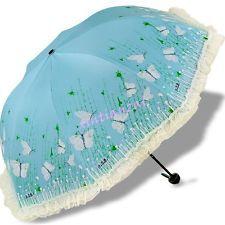 Butterfly Feminina de Renda Sombrinha Dobrável Para Guarda-chuvas anti UV do sol chuva à prova de vento