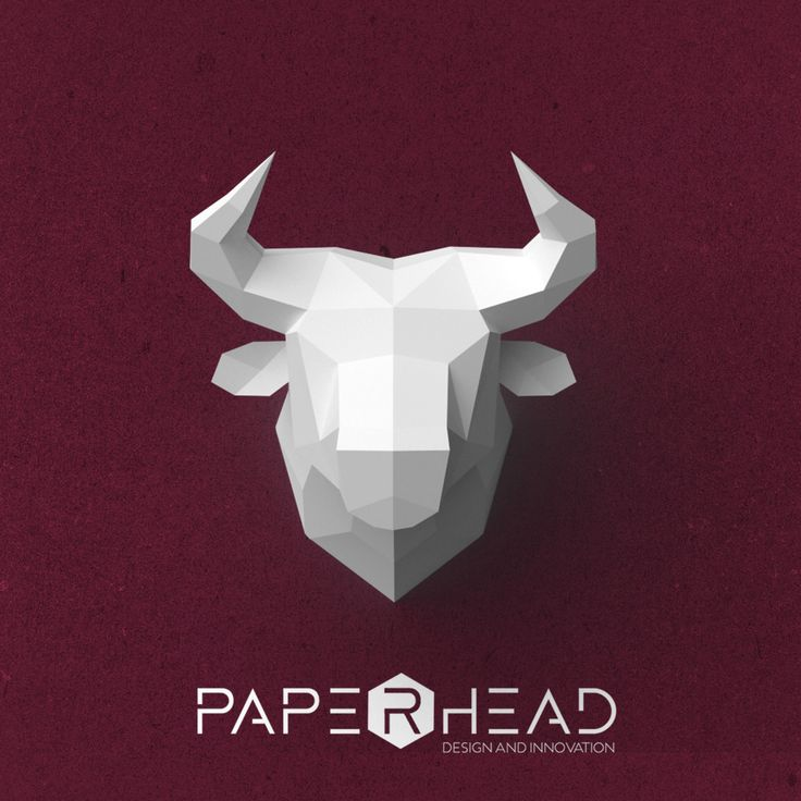 Wall-type Bull head template PDF by PaperheadDesign on Etsy #Bull #Head #Bulls #Logo