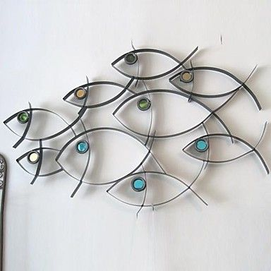 Best 25 fish wall art ideas on pinterest fish wall for Decor mural metal