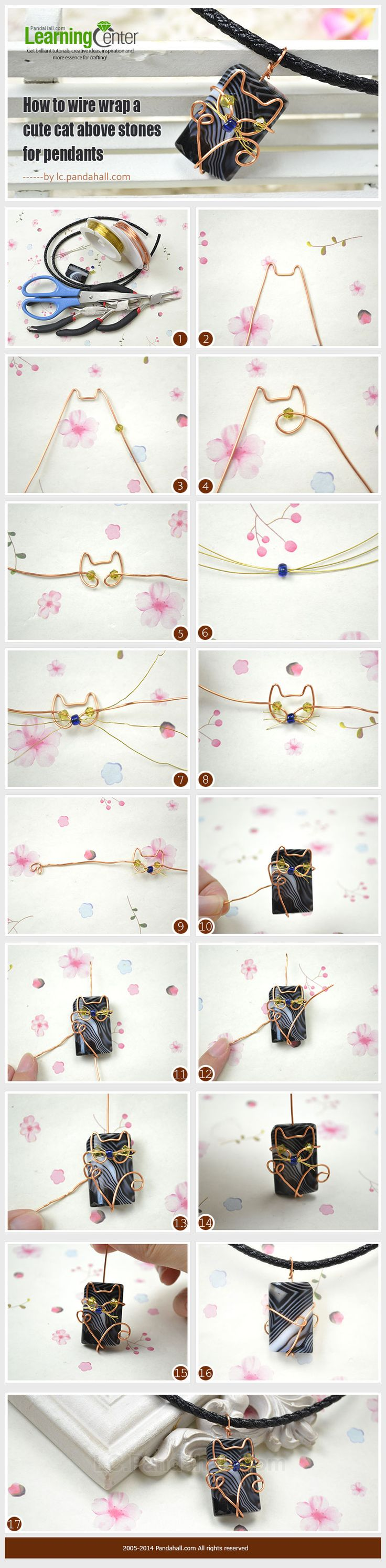 How to Wire Wrap a Cute Cat above Stones for Pendants