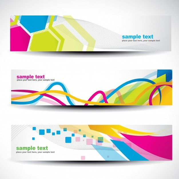 Banner set with modern colorful shapes Free Vector