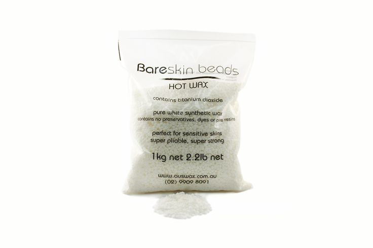 """Quick Overview Bareskin White Beads Hot Wax is our very favourite hot wax, it comes in a 1 kilo bags of """"beans""""!  It combines handling convenience and premium quality. It contains titanium dioxide, ultra fast dry, but ultra flexible - it's pickup is amazing - launched in 2013"""