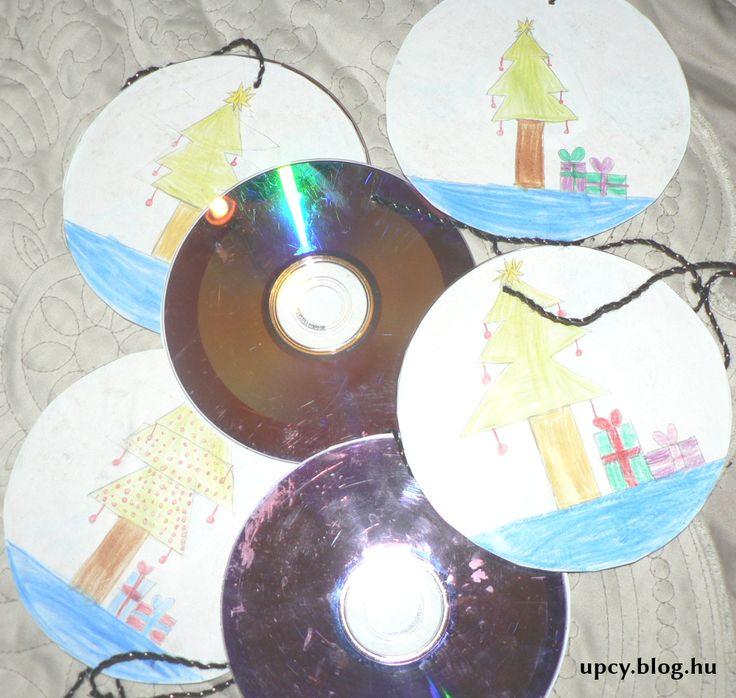 CD, DVD recycling - Christmas decoration.  Karácsonyi dekoráció CD vagy DVD lemezek újrahasznosításával.
