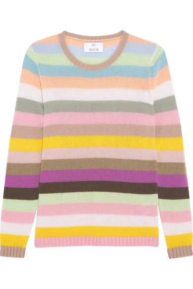 """It was love at first touch – long before I even owned a garment made of cashmere,"" says Andrea Karg on why she was inspired to create Allude. This playful sweater is knitted with pretty pastel-pink, violet, baby-blue and mint stripes. Wonderfully insulating, it will add a welcome shot of color to your cold-weather wardrobe."