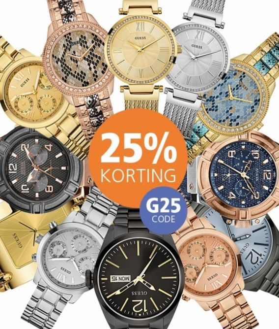 Alle Guess horloges, nu met 25% Korting! Code 'G25'. Zelfs korting op korting! Check het nu: http://www.kish.nl/Guess-horloges/ Op is Op! Wees er snel bij.