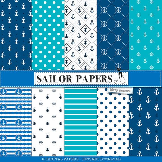 Nautical digital paper : Sailor Papers - navy backgrounds w/ chevron, polkadots, anchors, sea patterns, stripes, beach, navy, turquoise