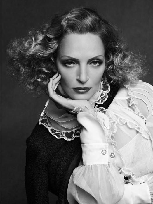 Uma ThurmanCarine Roitfeld, Fashion, Chanel, Uma Thurman, Umathurman, 40S Hair, Marlene Dietrich, Black Jackets, Karl Lagerfeld