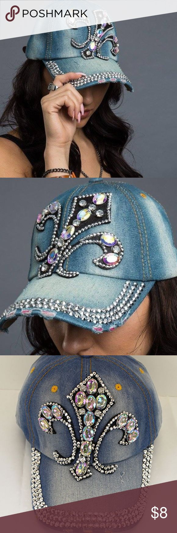 flur de lis cap  SALE LAST PRICE SKU: dm123 The crystal fleur de lis embellished baseball hat is made from 100% cotton for breathable all-day wear.  It features an adjustable Velcro closer for a secure fit. One size fits most New Orleans Accessories Hats
