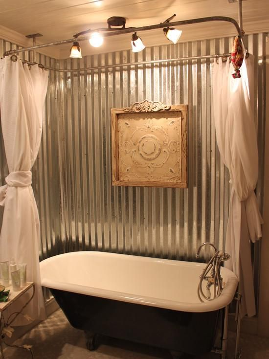 Attractive Clawfoot Tub Bathroom Ideas   Corrugated Metal Bathroom Shower  lose the tub and put shower Top 25  best Clawfoot tub shower ideas on Pinterest   Clawfoot tub  . Add Shower To Clawfoot Tub. Home Design Ideas