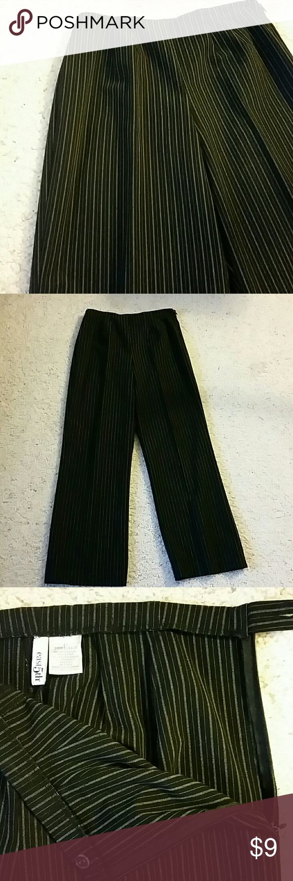 Black with gray pinstripes ladies slacks Zipper on left side. No pockets. Size 6 short. East 5th Pants Trousers