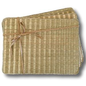 Quality Rectangle Seagrass Placemat Woven Rattan Handmade Dining Table SET OF 4 from Janggalay