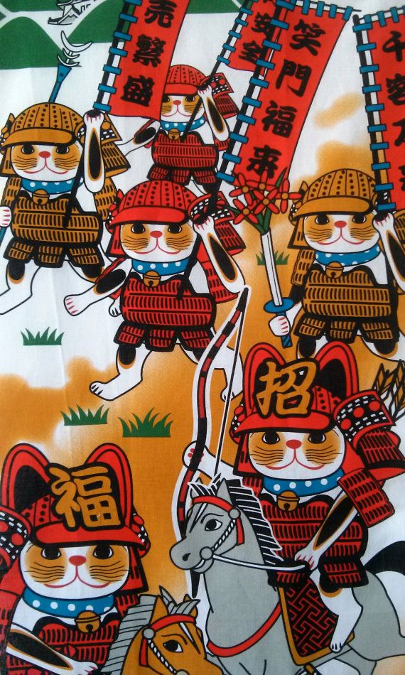 Maneki Neko Samurai tapestry hanging wall 32x14 by Morondanga