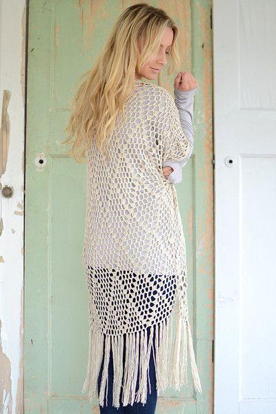 Short Sleeve Crochet Fringe Kimono