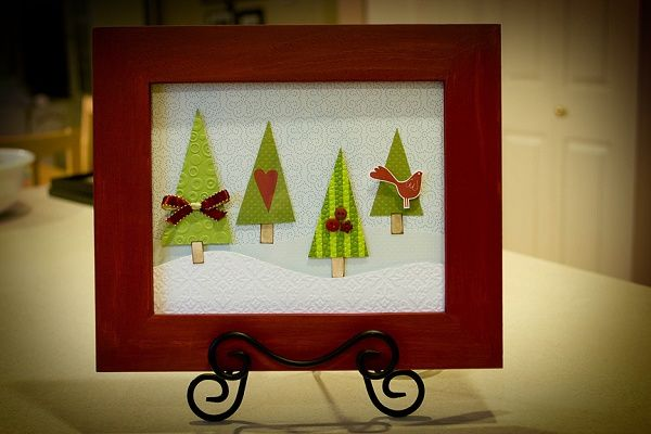 Christmas trees in a frame: Trees Art, Christmas Crafts, Winter Scene, Crafts Ideas, Cards Ideas, Trees Frames, Holidays Decor, Cards Inspiration, Christmas Trees