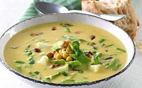 Fyldig kyllingesuppe med kikærter og ramsløg En frisk og hurtig suppe, som serveres med æblesalsa. Find ramsløgene i skoven om foråret. De smager dejligt!