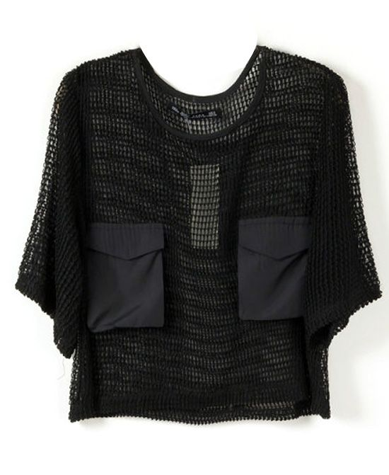 Sexy Style Net Mesh Short Sleeves Black Blouse