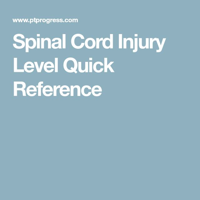 Spinal Cord Injury Level Quick Reference
