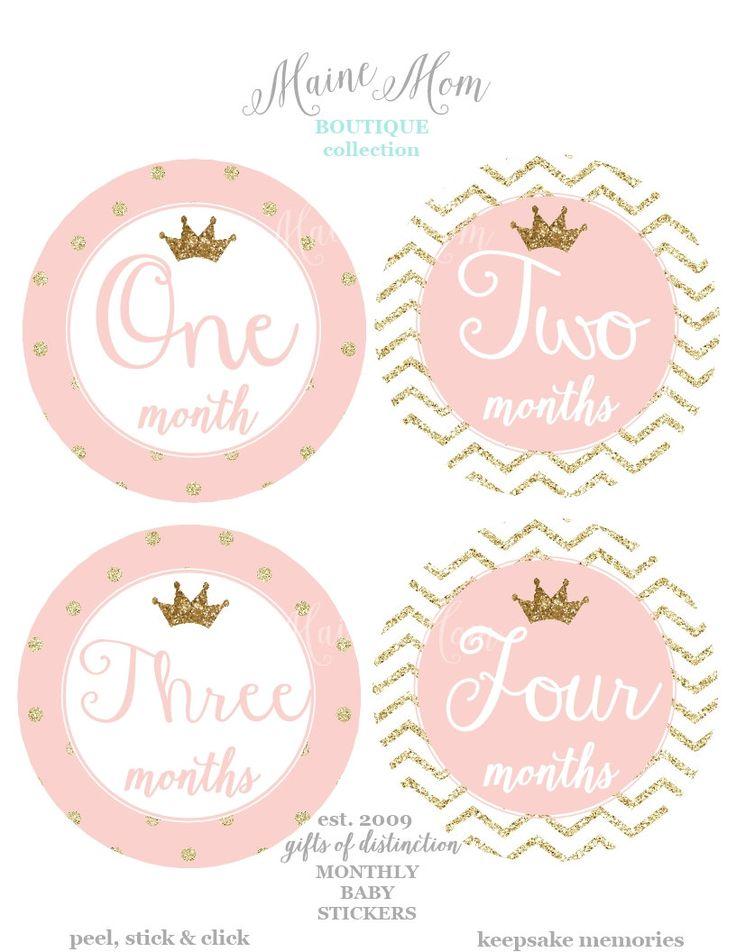 REGALO mensual bebé niña etiquetas engomadas por MaineMomBoutique