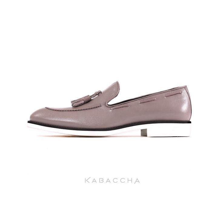 Kabaccha Shoes // Grey Nappa Leather & Black/White Sole #KabacchaShoes #Loafers