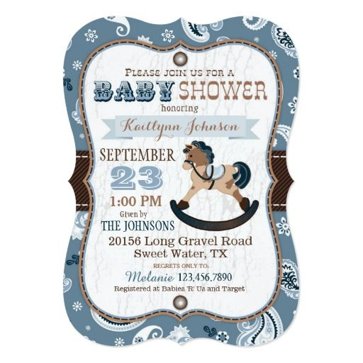 425 best western baby shower invitations images on pinterest baby rustic cowboy western rocking horse baby shower card filmwisefo Gallery
