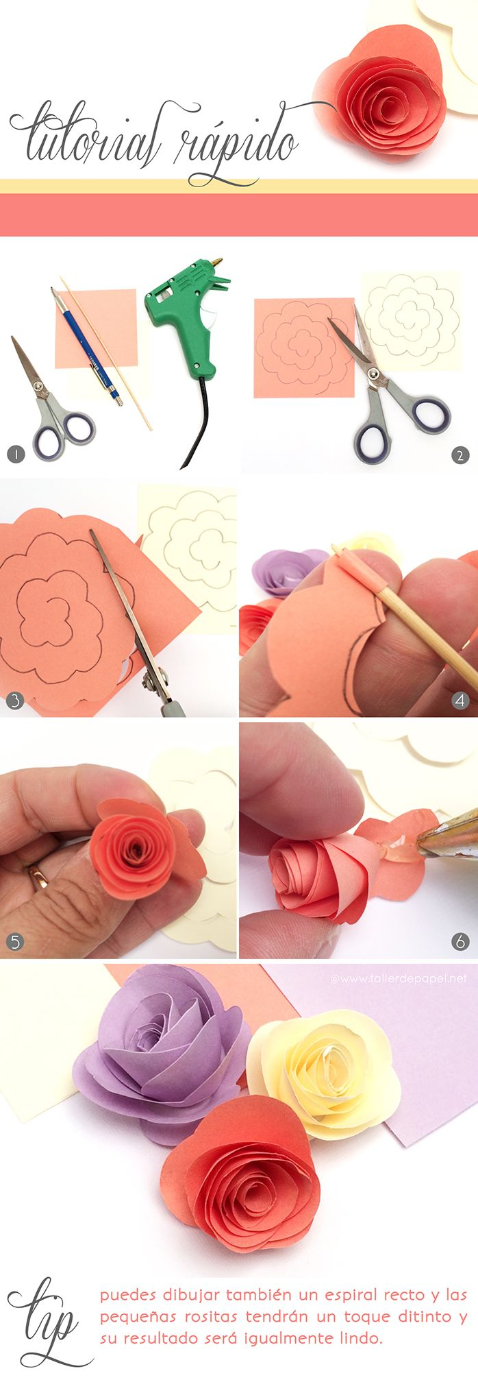 DIY Tutorial Rápido: Hoy como hacer mini rositas de papel! Sigue este simple…