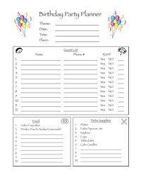 birthday party planning worksheet