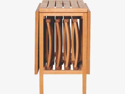 ZENO NATURAL Wood Oak garden table and 4 chairs set - HabitatUK