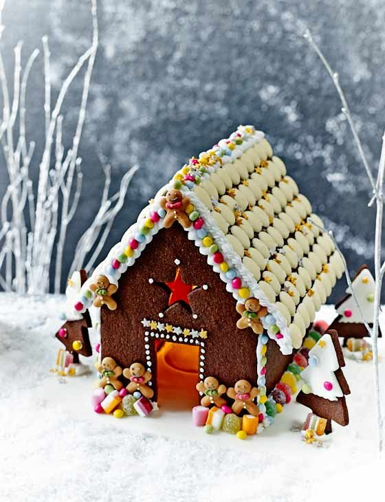 Chocolate Christmas house - for people who don't eat gingerbread. It looks fantastic - Sainsbury's Magazine