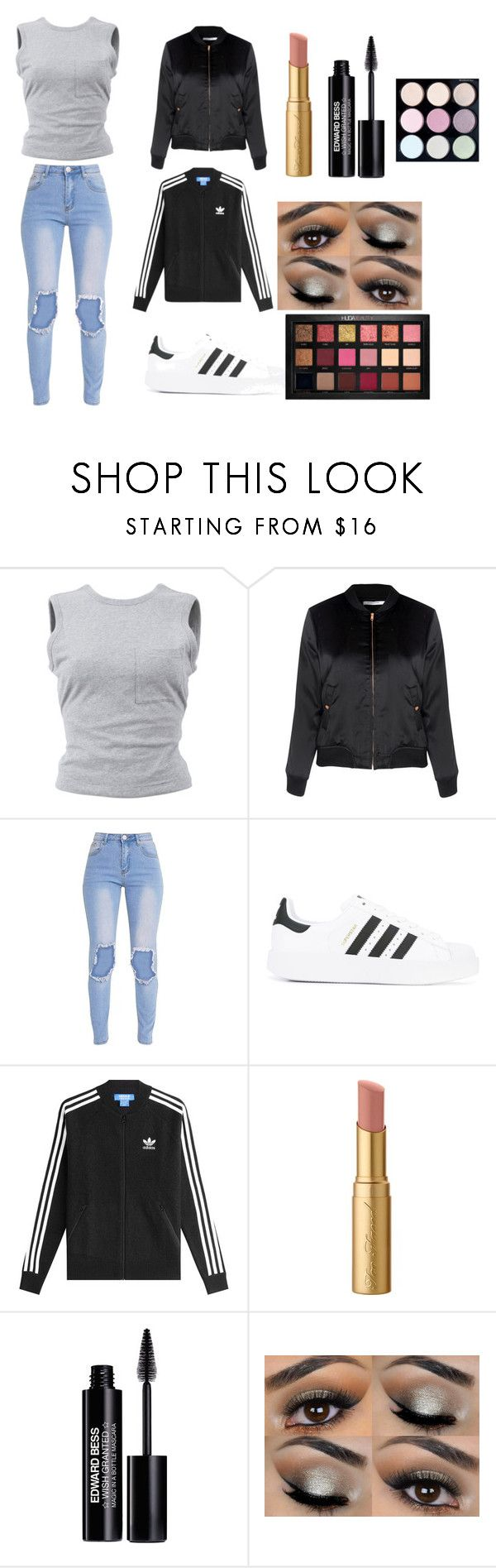 """Random"" by mc-crusher on Polyvore featuring T By Alexander Wang, Glamorous, adidas, adidas Originals, Too Faced Cosmetics, Edward Bess and Huda Beauty"
