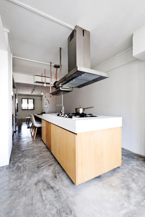 kitchen, kitchen island, countertop, cooker hood