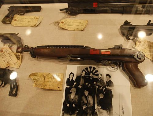 The machine gun held by heiress Patty Hearst in the famous photograph taken of her while she was held captive and brainwashed by the Symbionese Liberation Army.