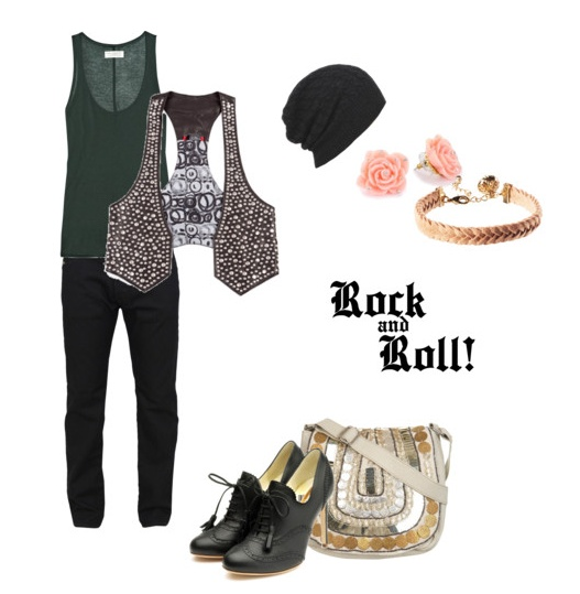 Concert outfit for summer night - I LOVE that this is a style recipe! Start with 1 Pair of black skinny jean, add two earrings...