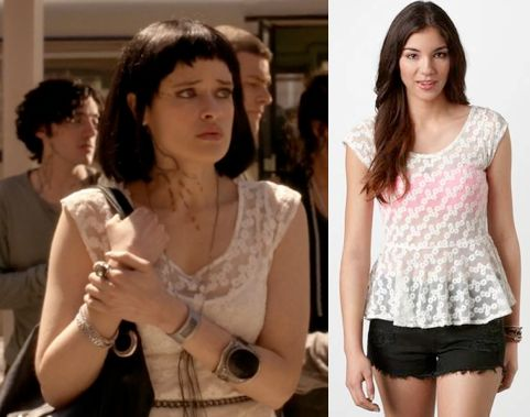 "Sofia (Brina Palencia) wears an AE Floral Lace Peplum Top in the color White in Star-crossed Season 1 Episode 1 ""Pilot."""