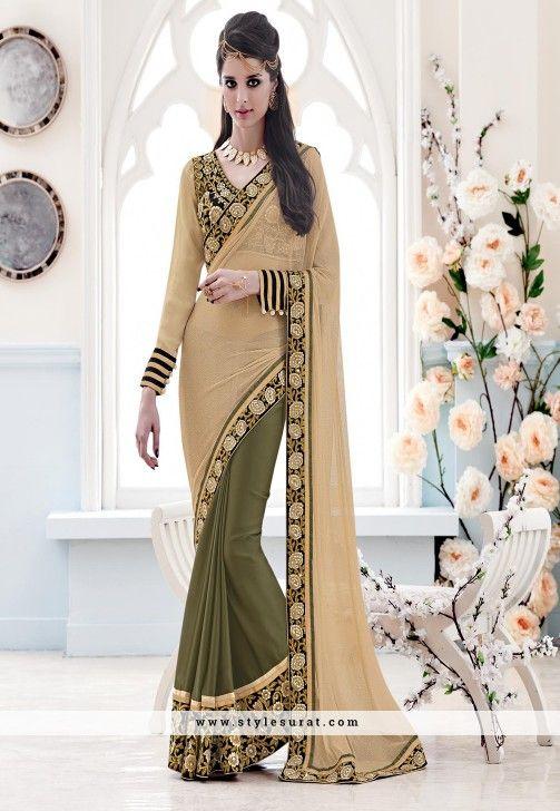 Wonderous Beige And Green Color Designer Wedding Saree