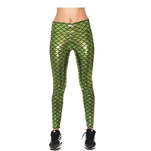 Apparel Inter Women Green Mermaid Leggings Sport Gym Running Pants XXXL ** Additional info @