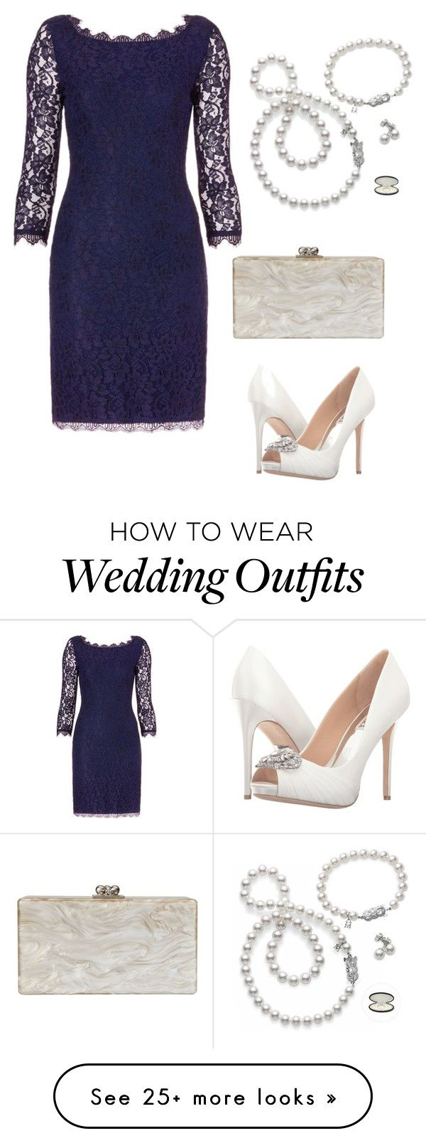 """Wedding Guest"" by hkaplan on Polyvore featuring Diane Von Furstenberg, Mikimoto, Edie Parker and Badgley Mischka"