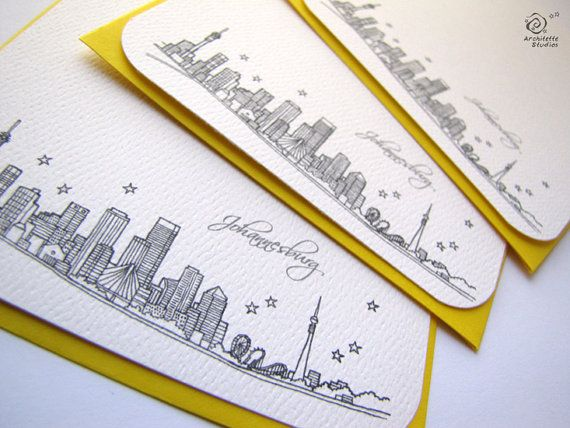 Johannesburg, South Africa - City Skyline Series - Notecards (8).