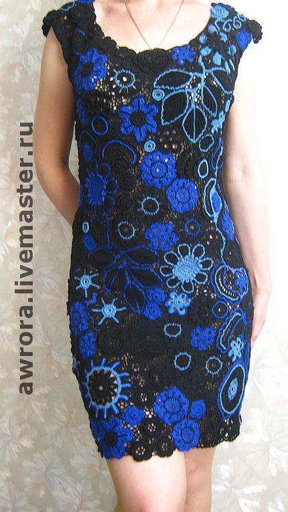 """Платье """" Сказка ночи"""" - вязаное платье,вязание крючком,чёрный,цветочный"""