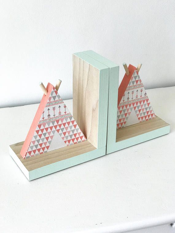 TeePee Bookends, Aztec baby girl nursery, tribal baby girl, southwestern girl,  Coral and Mint Tribal Nursery, Aztec room decor, Coral and Mint Teepee,