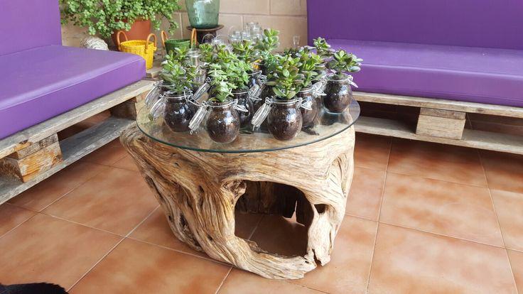 Mesita de jardin de madera de olivo