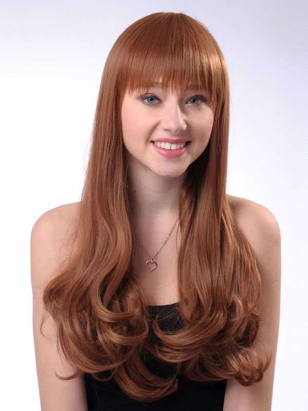 Hot 22 Inch Capless Wavy Golden Brown Synthetic Hair Cheap Wig