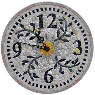 Round mosaic wall clock