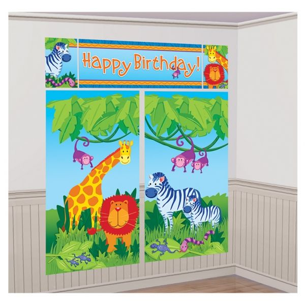 Amscan Jungle Animals Scene Setters Wall Decorating  Transform the party room with this lightweight plastic Jungle Animals scene setter.This decoration would look great on the wall at a zoo, safari or jungle themed party - can be easily stuck up with blu tac, tape etc and are suitable for indoor or outdoor use.The decoration comes in 5 separate pieces-2 x large Jungle Animals scenes 82.5cm x 149cm.1 x Happy Birthday banner 113cm x 40.6cm.