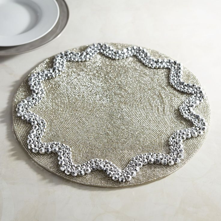 Pewter Beaded Placemat · Mosaic ProjectsPlacematPewterTable LinensPier 1  ImportsNapkinsBeadingBeadTablecloths